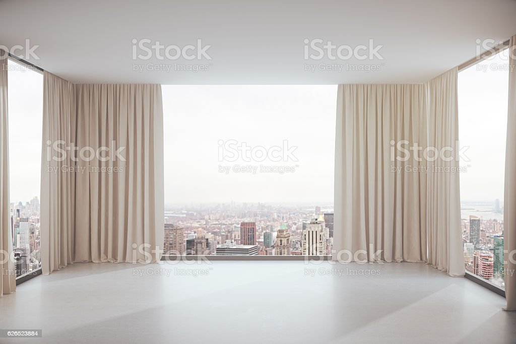 Interior with city view stock photo