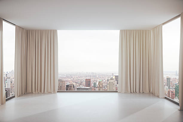 interior with city view - curtain stock photos and pictures