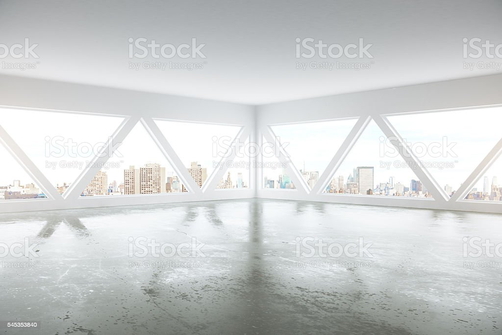 Interior with city view side stock photo