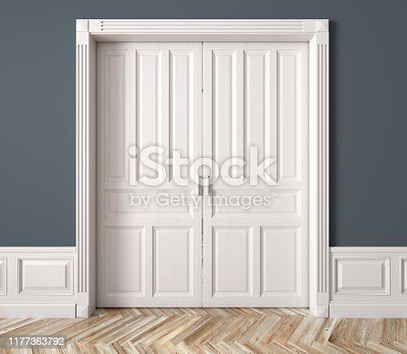 Interior of a room with classic white double sliding raised doors against blue wall 3d rendering