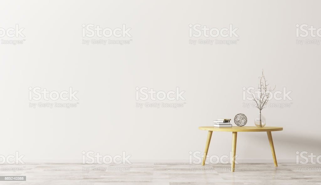 Interior with coffee table 3d rendering stock photo