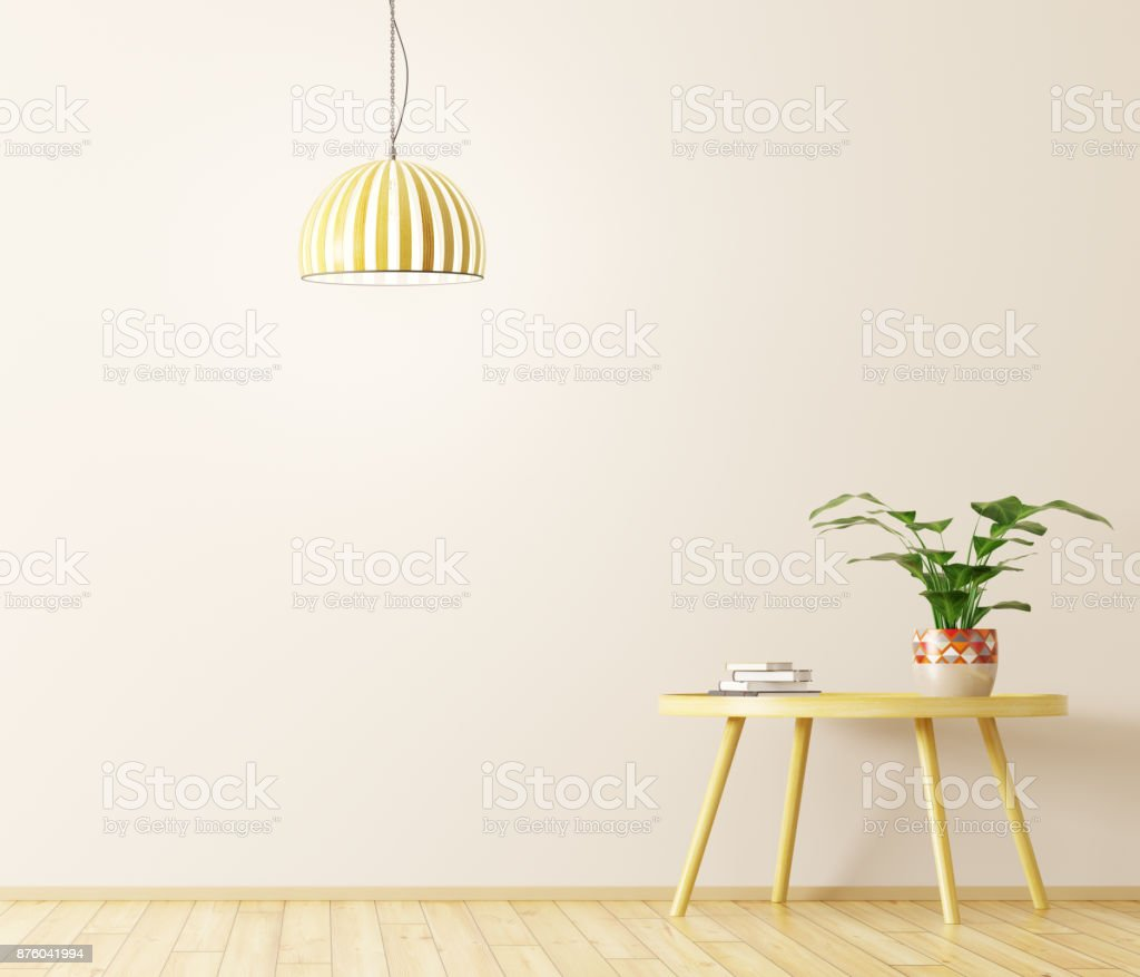 Interior with coffee table and lamp 3d rendering stock photo