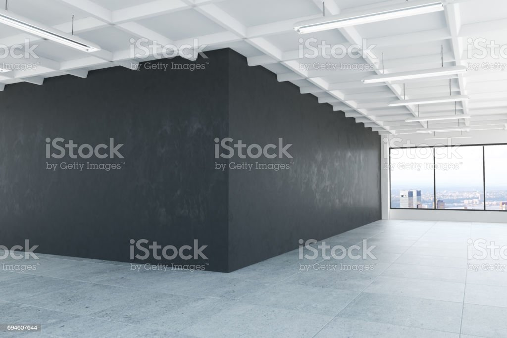 Interior with dark wall side stock photo