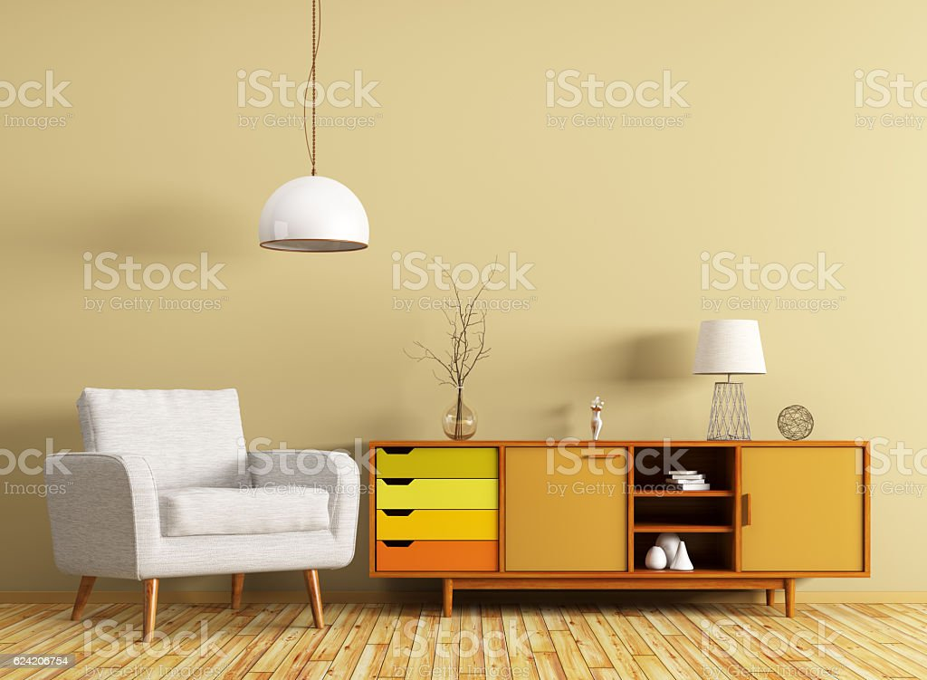 Interior with dresser and armchair 3d rendering stock photo