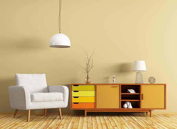 interior with dresser and armchair 3d rendering - sideboard skandinavisch stock-fotos und bilder