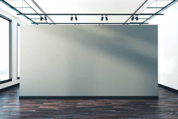 Interior with empty banner stock photo
