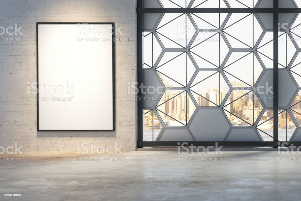 Interior with empty frame stock photo