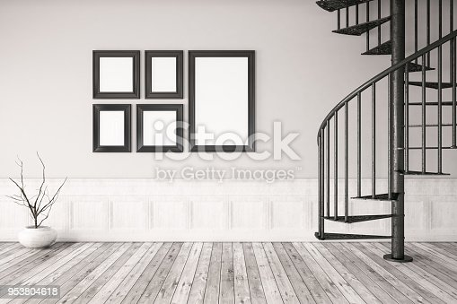 654050754istockphoto Interior with Empty Frames and Stairs 953804618
