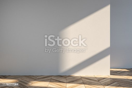 Interior with empty white wall, sunlight and shadow. Mock up, 3D Rendering