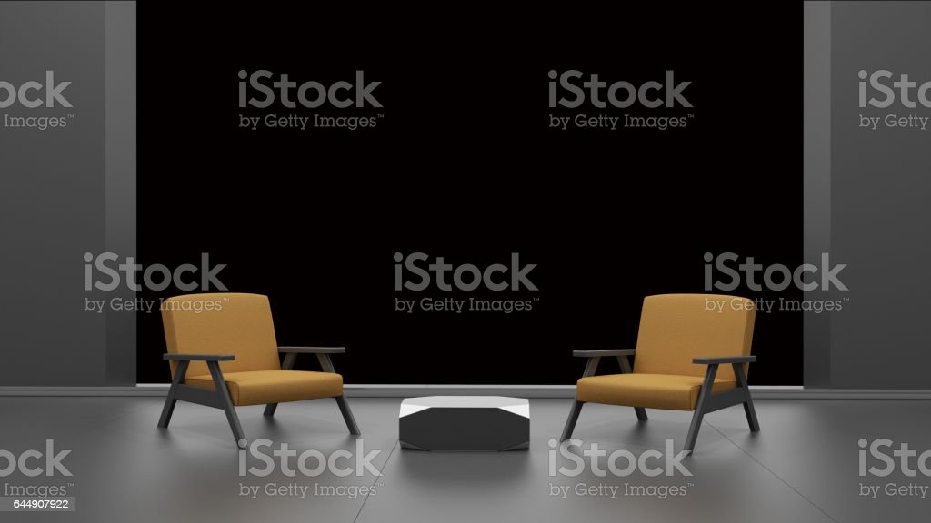 interior with empty window isolated on black 3D rendering stock photo