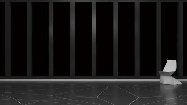 interior con ventana vacía aislado en Render 3D negro - foto de stock