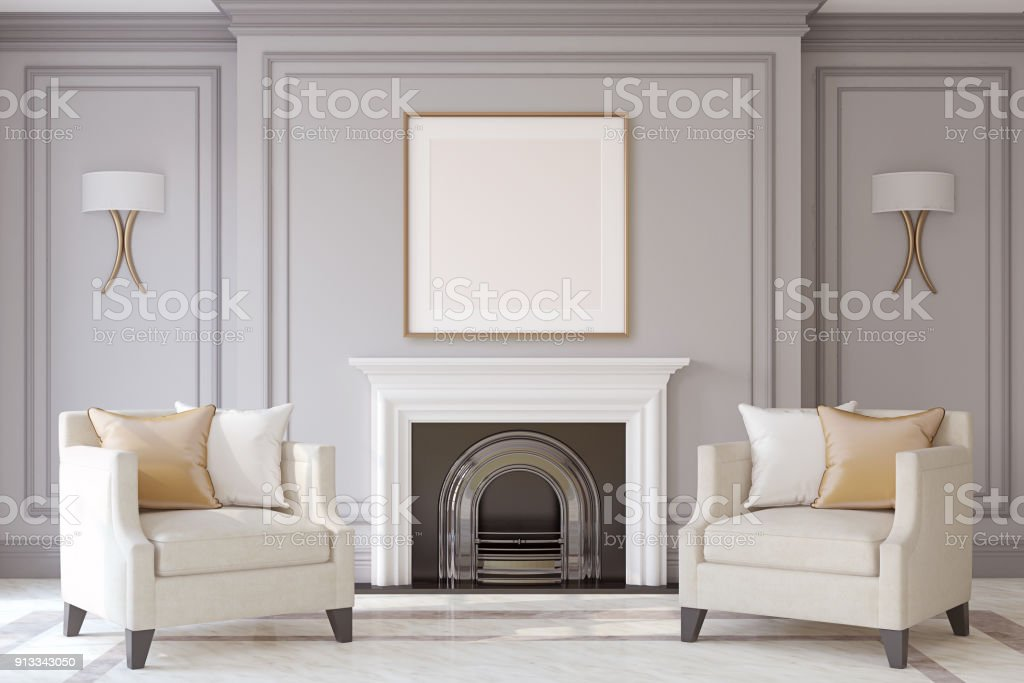 Interior with fireplace. 3d render. stock photo