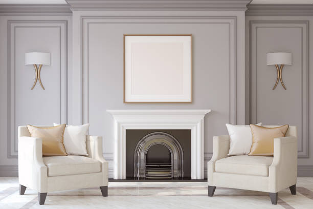 Interior with fireplace. 3d render. Interior with fireplace in neoclassical style. Frame mock-up. 3d render. neo classical stock pictures, royalty-free photos & images