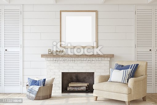 Interior with fireplace in coastal style. Interior and frame mockup. 3d render.