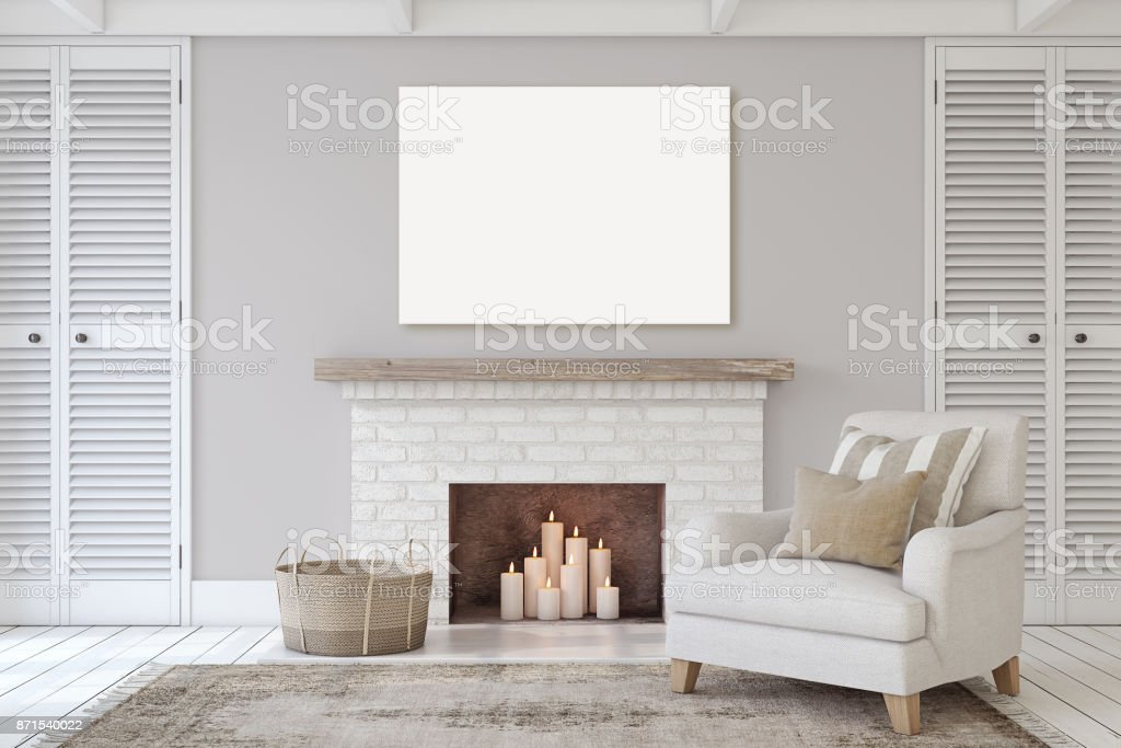 Interior with fireplace stock photo