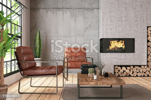 Interior with Funiture and Fireplace. 3D Render