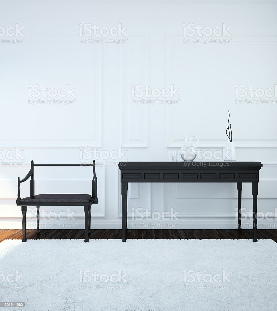 Interior with furniture done in the Gothic style. 3d illustration stock photo