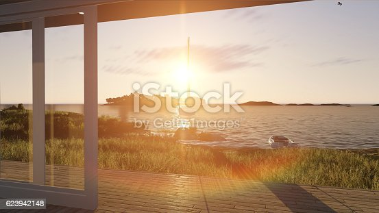 946294510 istock photo Interior with glass doors and sea landscape 623942148