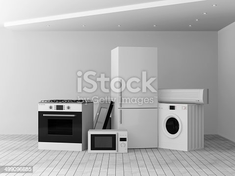 istock Interior with group of home appliances 499096685