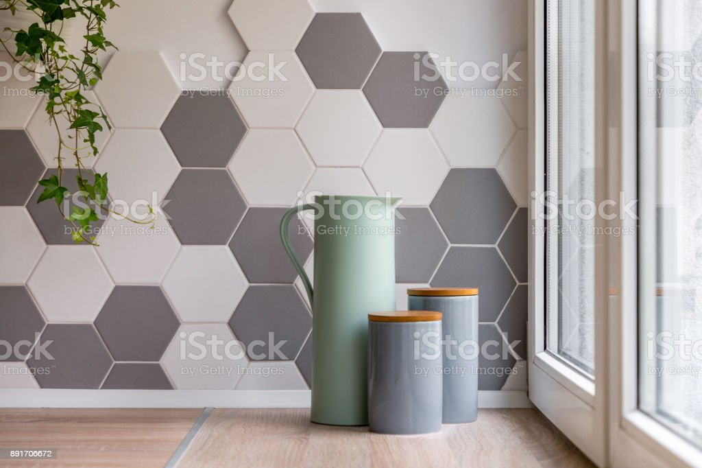 Interior With Hexagonal Wall Tiles Stock Photo Download Image Now Istock