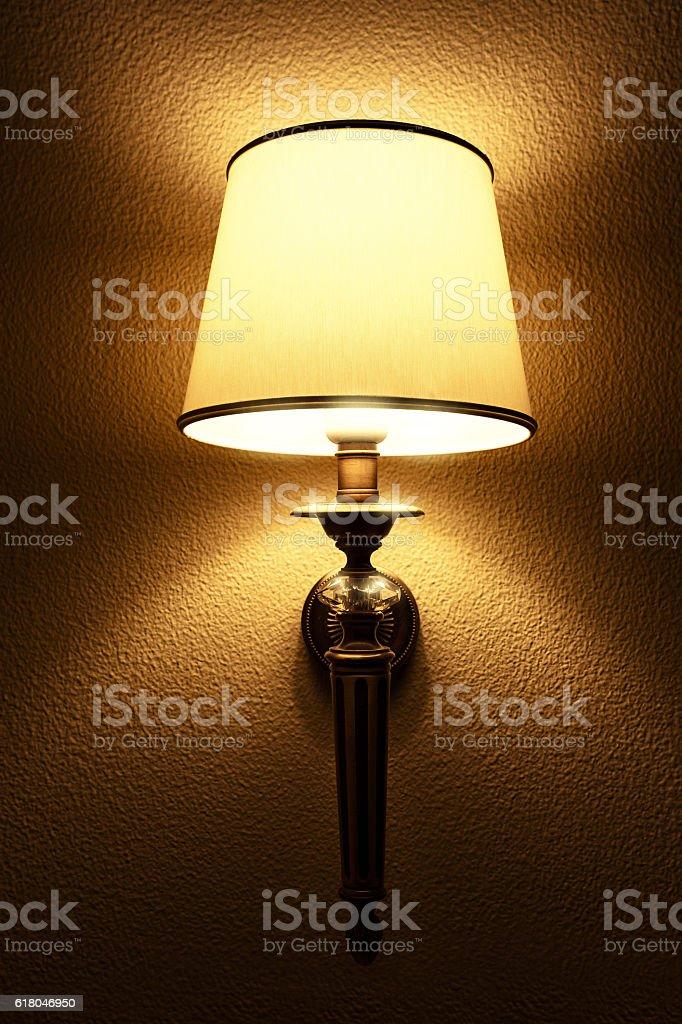 Interior with lighting lantern on wall in the dark stock photo