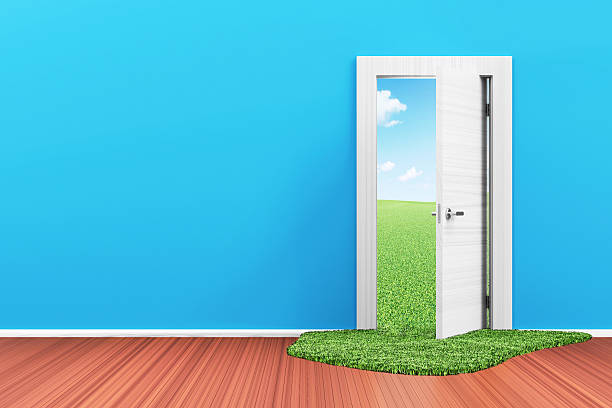 3D Interior with Opened Door and Beautiful Landscape behind stock photo