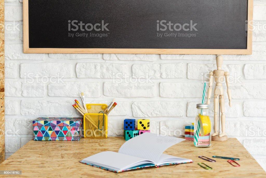 Interior with OSB desk stock photo
