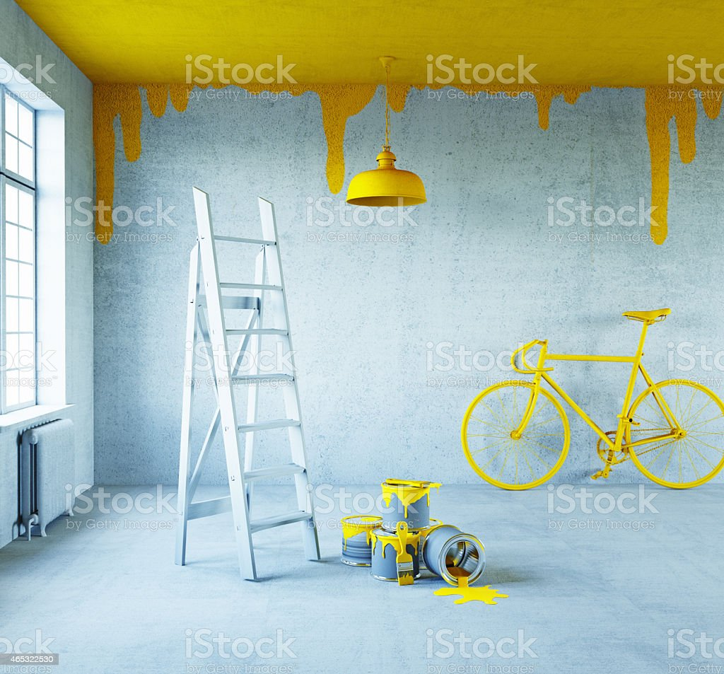 interior with painted ceiling stock photo