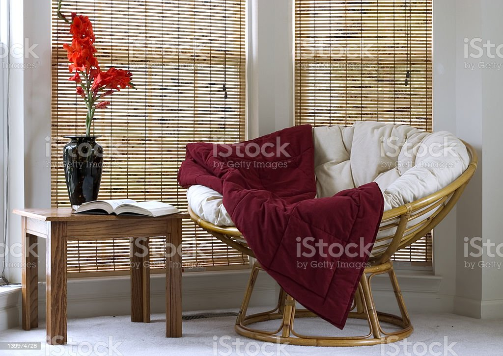 Interior with Papasan Chair stock photo