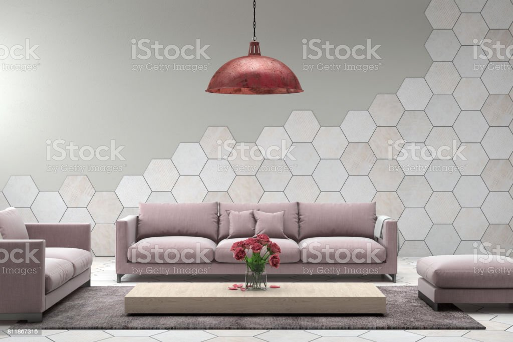 Interior With Pastel Baby Pink Colored Sofa With Blank Wall Royalty Free  Stock Photo