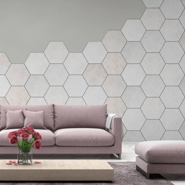 innenraum mit pastell baby rosa farbigen sofa mit leere wand - teppich geometrisch stock-fotos und bilder