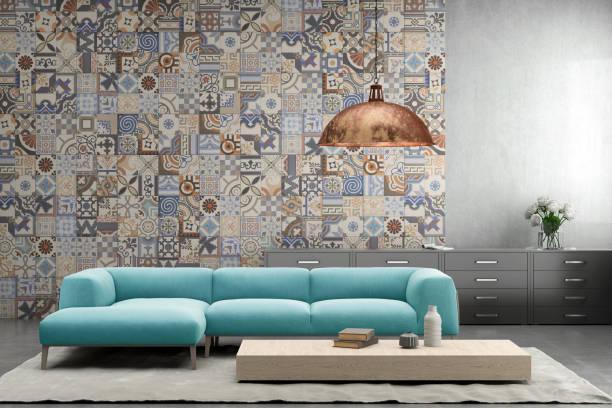 innenraum mit pastell blau farbigen sofa mit leere wand - teppich geometrisch stock-fotos und bilder