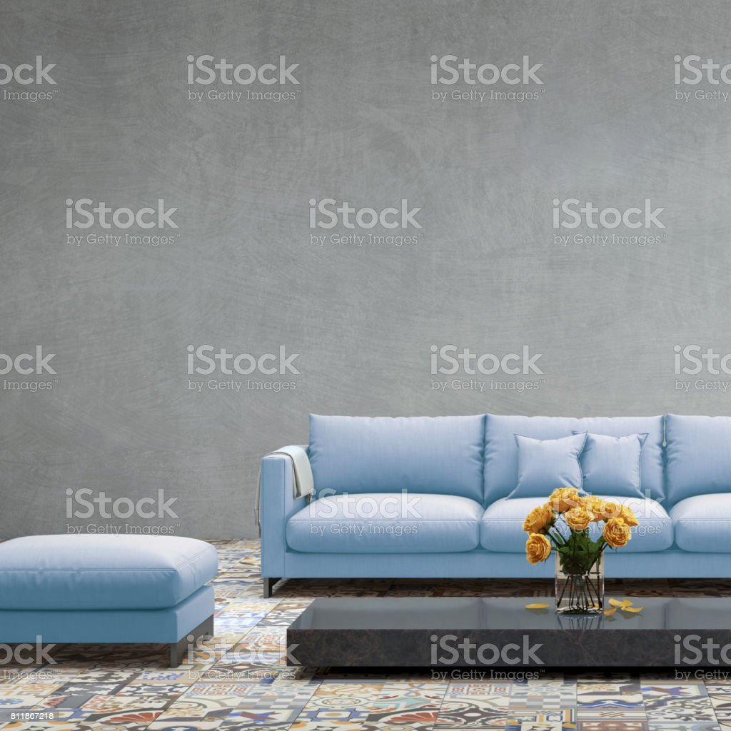 Interior With Pastel Colored Blue Sofa With Blank Wall Stock Photo U0026 More  Pictures Of Apartment | IStock