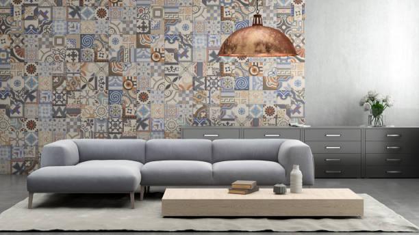 innenraum mit pastell lila farbigen sofa mit leere wand - teppich geometrisch stock-fotos und bilder