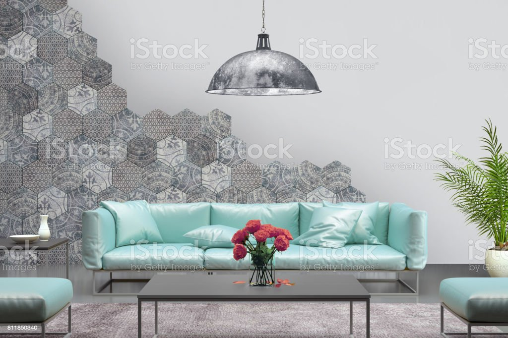 Interior with pastel purple colored sofa with blank wall stock photo