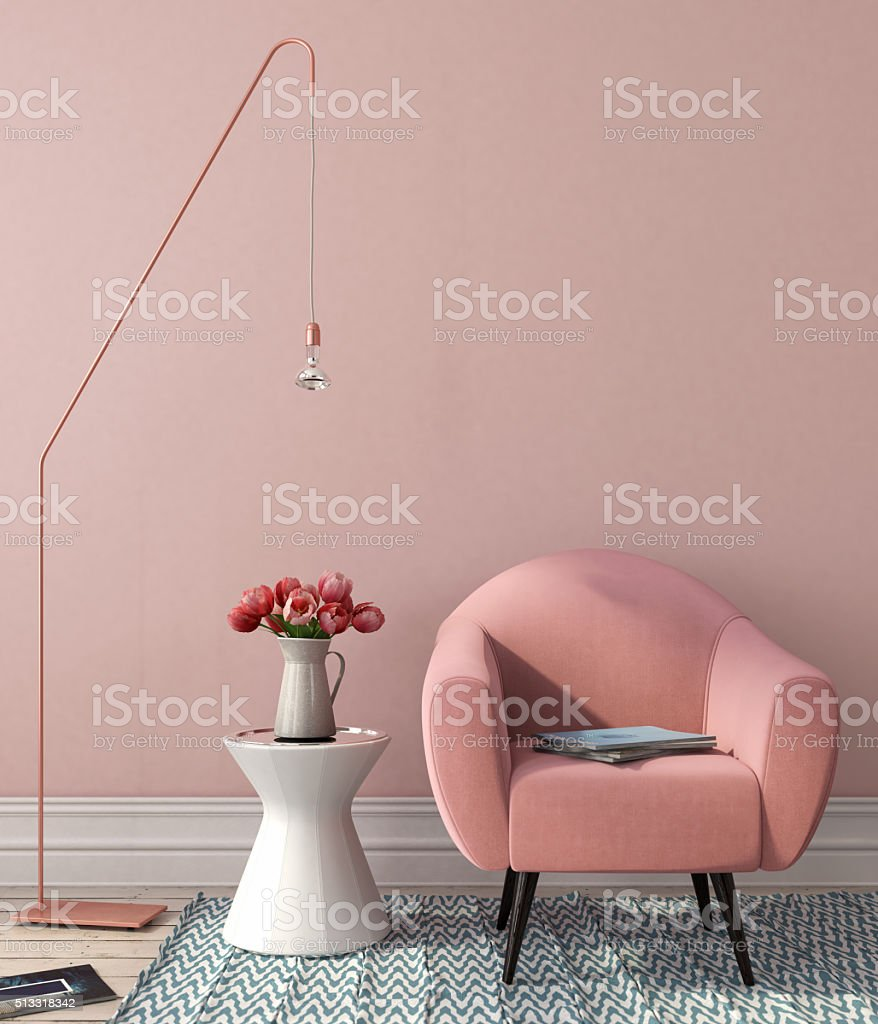 Interior with pink chair and stylish floor lamp stock photo
