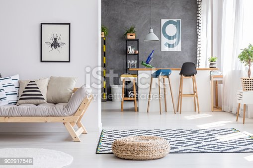 istock Interior with pouf and sofa 902917546