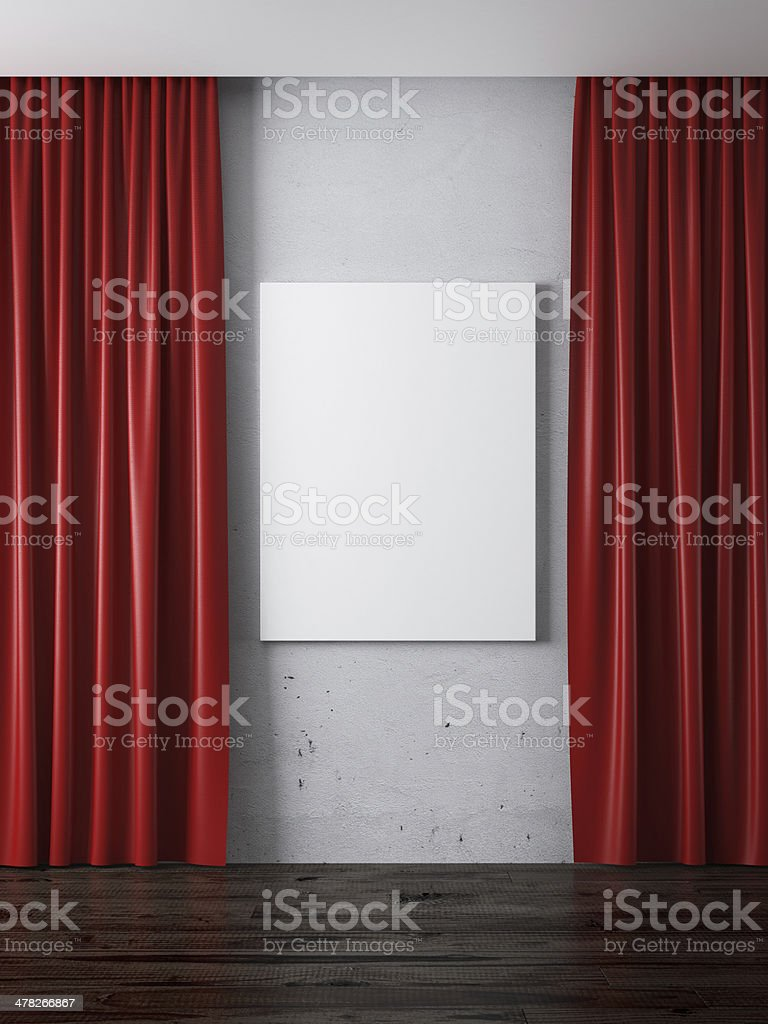 Interior with red curtains and blank frame stock photo
