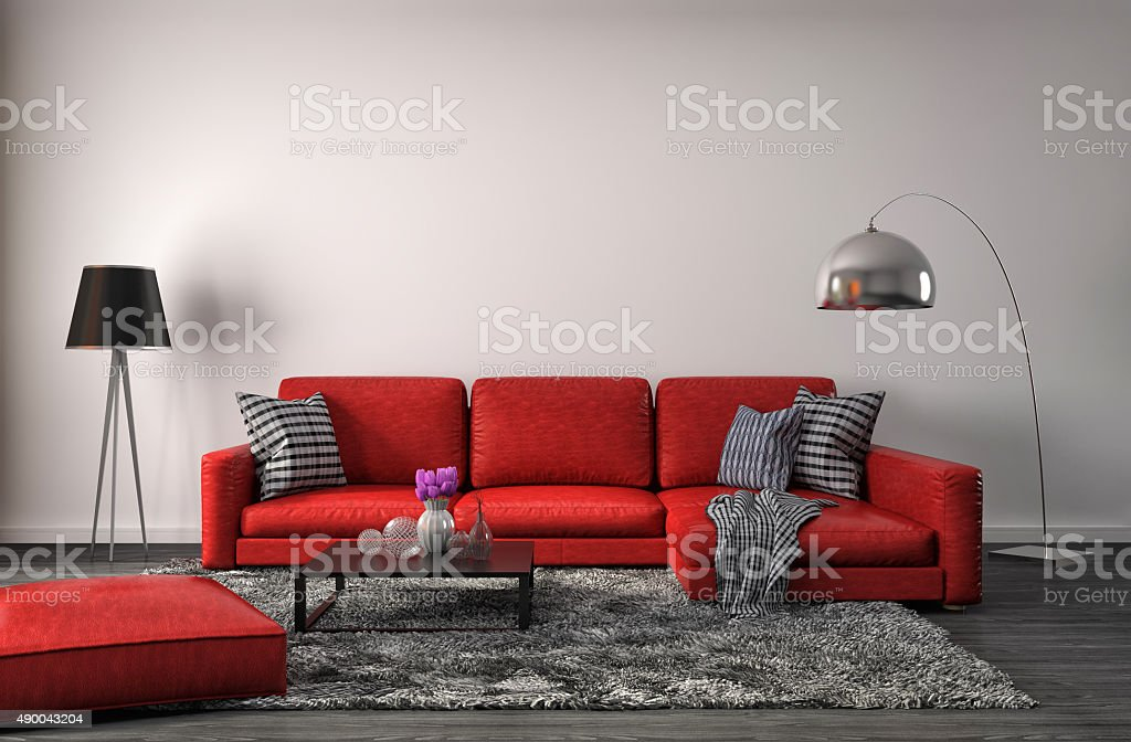 interior with red sofa. 3d illustration stock photo