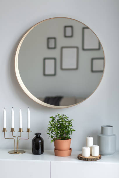 Interior with round mirror stock photo