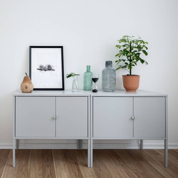 Interior with simple sideboard stock photo
