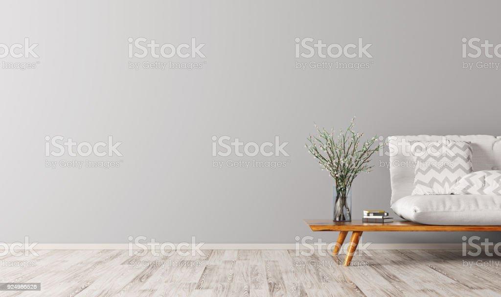 Interior con representación 3d de sofá foto de stock libre de derechos