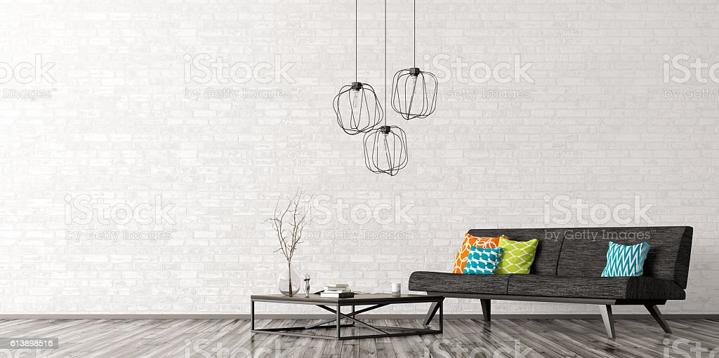 Interior with sofa and coffee table 3d rendering stock photo