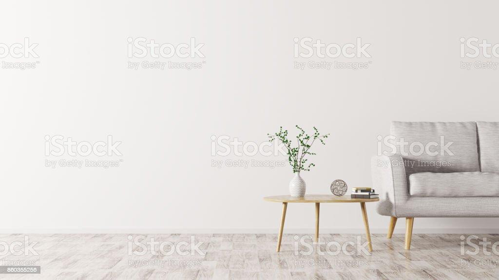 ソファとコーヒー テーブルの 3 d レンダリングとインテリア ロイヤリティフリーストックフォト