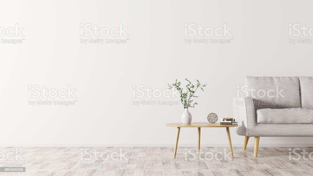 Interior with sofa and coffee table 3d rendering