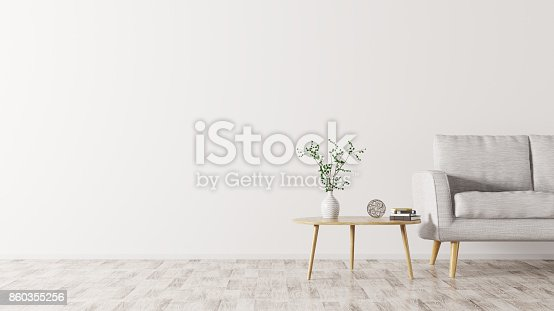 istock Interior with sofa and coffee table 3d rendering 860355256