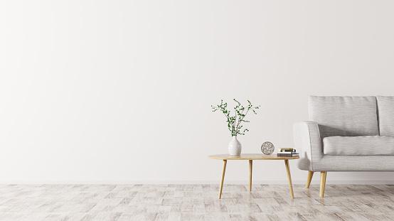 Interior With Sofa And Coffee Table 3d Rendering — стоковые фотографии и другие картинки Бежевый
