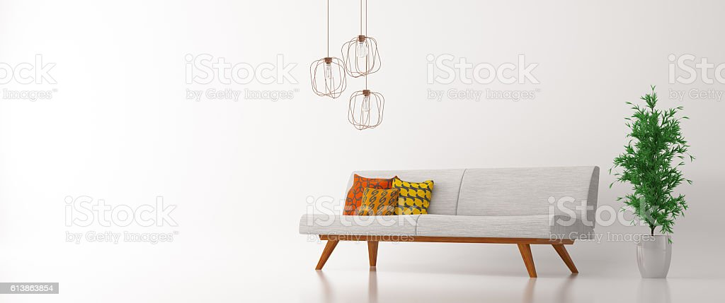 Interior with sofa over white panorama 3d rendering stock photo