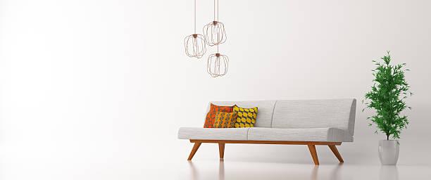 interior with sofa over white panorama 3d rendering - wohnzimmergarnitur stock-fotos und bilder