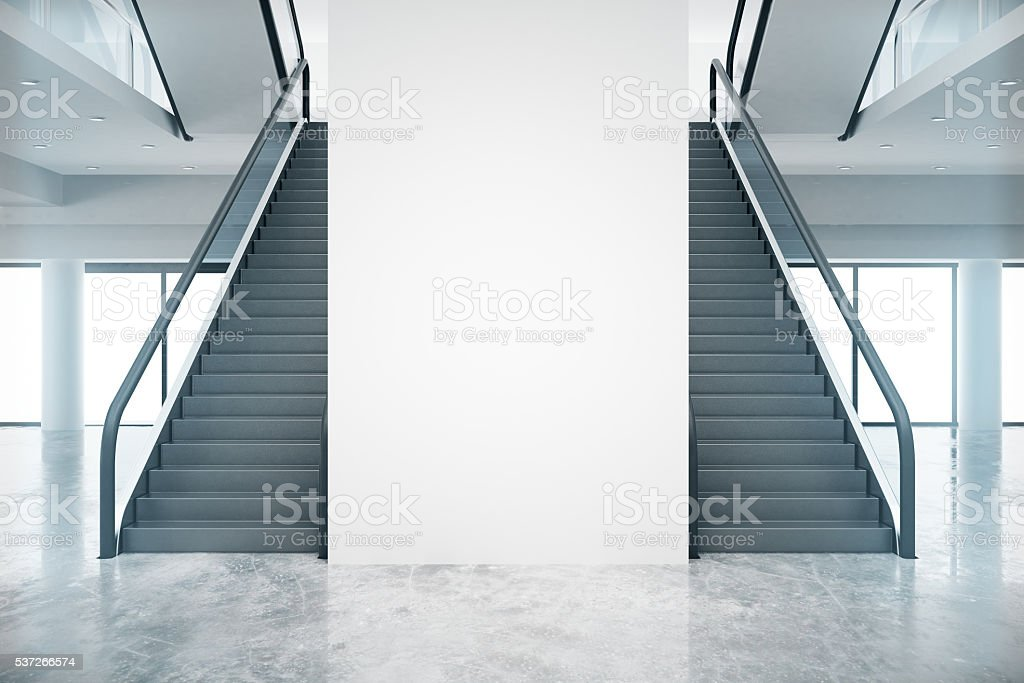 Interior with staircases stock photo